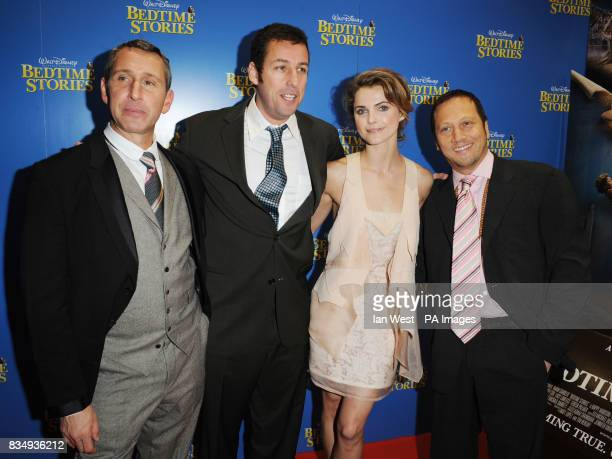 Adam Shankman Adam Sandler Keri Russell and Rob Schneider arrive at the premiere of Bedtime Stories at the Odeon cinema in Kensington central London
