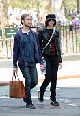 Adam Shulman and Anne Hathaway are seen in New York City on April 26 2015 in New York City
