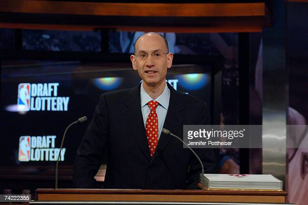 Adam Silver Deputy Commissioner of the NBA announces picks during the 2007 NBA Draft Lottery on May 22 2007 at the NBATV Studios in Secaucus New...