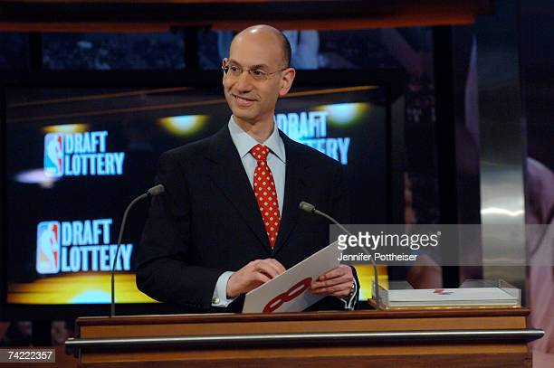 Adam Silver Deputy Commissioner of the NBA announces the number eight pick during the 2007 NBA Draft Lottery on May 22 2007 at the NBATV Studios in...