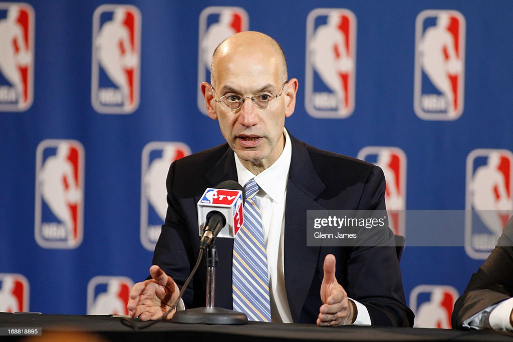 Adam Silver, deputy commissioner of the NBA, speaks at a press conference following the Board of Governors meeting on May 15, 2013 at the Hilton Anatole hotel in Dallas, Texas.