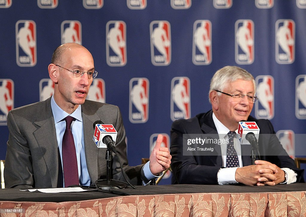<a gi-track='captionPersonalityLinkClicked' href=/galleries/search?phrase=Adam+Silver&family=editorial&specificpeople=679055 ng-click='$event.stopPropagation()'>Adam Silver</a> (L), Deputy Commissioner of the NBA, speaks to the media following the NBA Board of Governors Meeting, during which Commissioner <a gi-track='captionPersonalityLinkClicked' href=/galleries/search?phrase=David+Stern&family=editorial&specificpeople=206848 ng-click='$event.stopPropagation()'>David Stern</a> (R) outlined his plans to step down in February 2014 and nominate Silver as his successor, at the St. Regis hotel on October 25, 2012 in New York City.