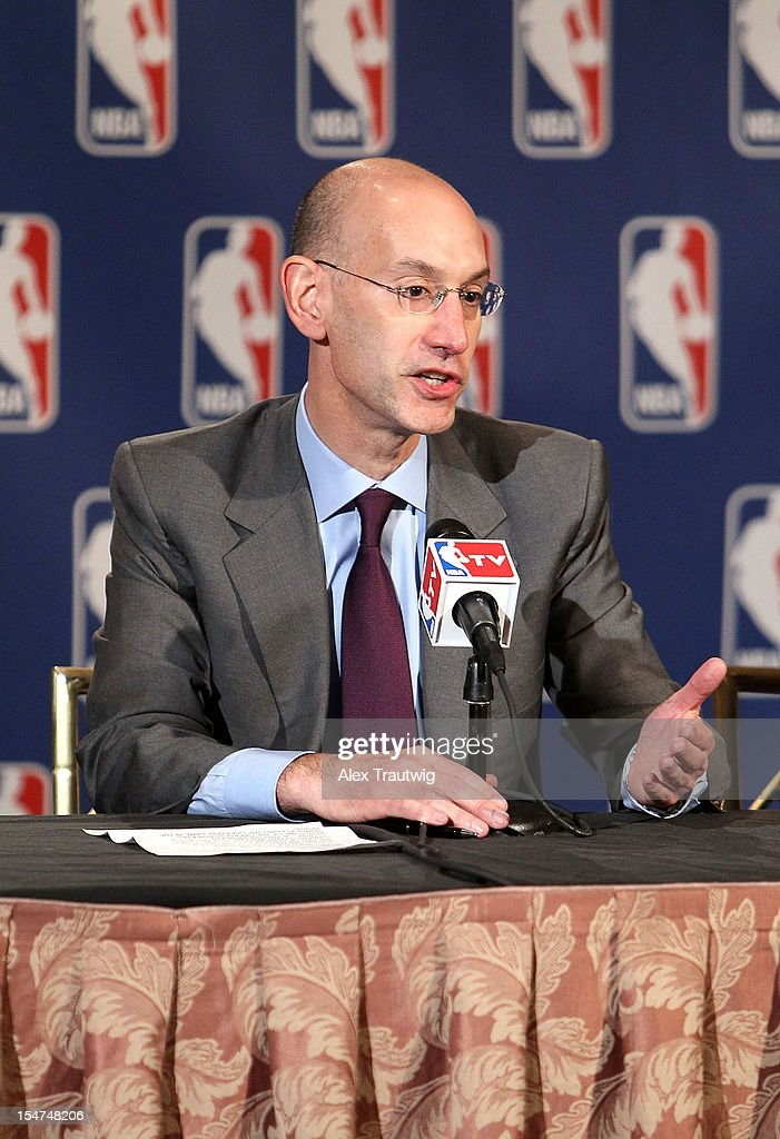 <a gi-track='captionPersonalityLinkClicked' href=/galleries/search?phrase=Adam+Silver&family=editorial&specificpeople=679055 ng-click='$event.stopPropagation()'>Adam Silver</a>, Deputy Commissioner of the NBA, speaks to the media following the NBA Board of Governors Meeting, during which Commissioner David Stern outlined his plans to step down in February 2014 and nominate Silver as his successor, at the St. Regis hotel on October 25, 2012 in New York City.