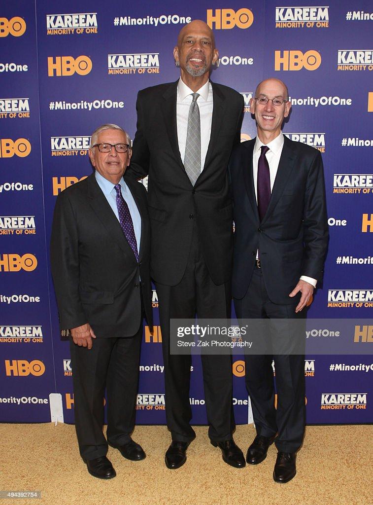 Adam Silver, Kareem Abdul Jabbar and David Stern attend 'Kareem: Minority Of One' New York Premiere at Time Warner Center on October 26, 2015 in New York City.