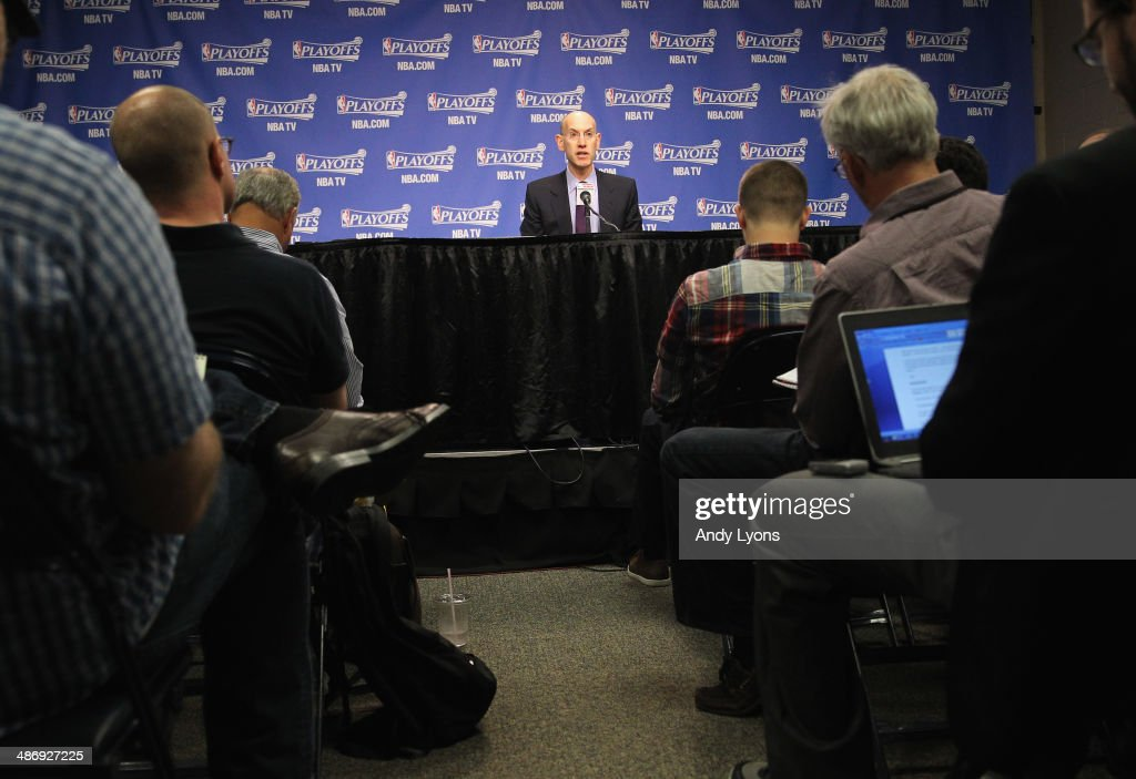 <a gi-track='captionPersonalityLinkClicked' href=/galleries/search?phrase=Adam+Silver&family=editorial&specificpeople=679055 ng-click='$event.stopPropagation()'>Adam Silver</a> the NBA Commissioner talks to the media before the start of the Oklahoma City Thunder game against the Memphis Grizzlies in Game 4 of the Western Conference Quarterfinals during the 2014 NBA Playoffs at FedExForum on April 26, 2014 in Memphis, Tennessee.