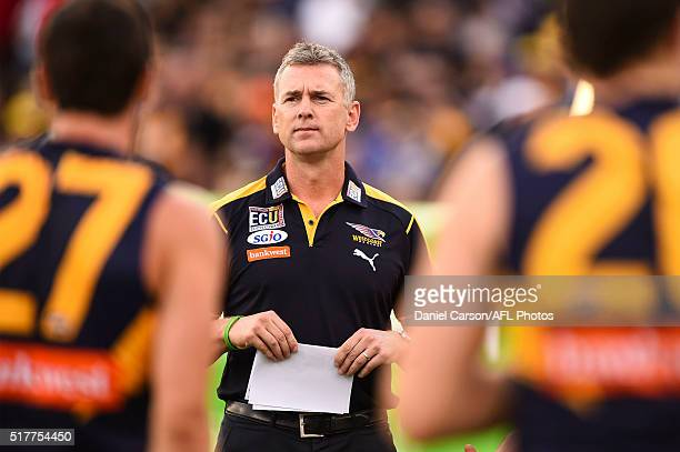 Adam Simpson coach of the Eagles addresses the team at quarter time during the 2016 AFL Round 01 match between the West Coast Eagles and the Brisbane...