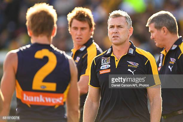 Adam Simpson coach of the Eagles addresses the team at quarter time during the 2016 AFL Round 08 match between the West Coast Eagles and the St Kilda...