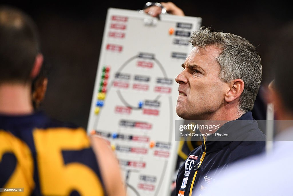 Adam Simpson, coach of the Eagles addresses the team at quarter time during the 2016 AFL Round 14 match between the West Coast Eagles and the Essendon Bombers at Domain Stadium on June 30, 2016 in Perth, Australia.