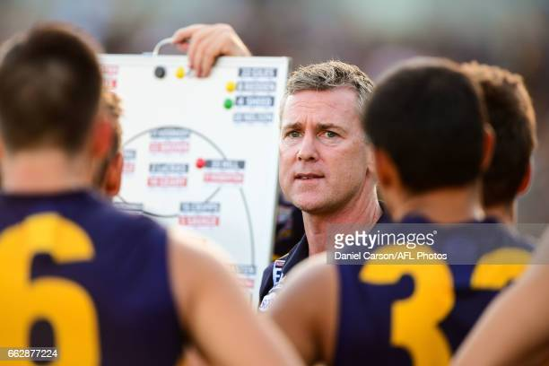 Adam Simpson coach of the Eagles addresses the team at quarter time during the 2017 AFL round 02 match between the West Coast Eagles and the St Kilda...