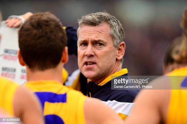 Adam Simpson coach of the Eagles addresses the team at quarter time during the 2017 AFL round 17 match between the Fremantle Dockers and the West...