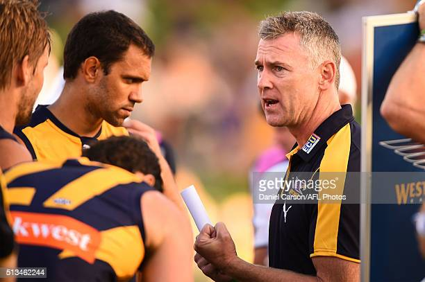Adam Simpson coach of the Eagles addresses the team at three quarter time during the 2016 NAB Challenge match between the West Coast Eagles and the...