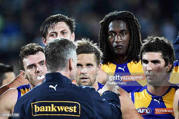 Adam Simpson coach of the Eagles adresses his players during the round six AFL match between the Port Adelaide Power and the West Coast Eagles at...