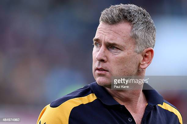 Adam Simpson coach of the Eagles looks on during the round 21 AFL match between the West Coast Eagles and Western Bulldogs at Domain Stadium on...