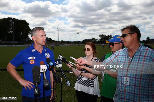Adam Simpson coach of the Eagles talks to the media during a West Coast Eagles AFL training session at Lathlain Park on November 20 2017 in Perth...