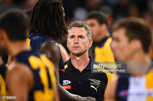 Adam Simpson coach of the West Coast Eagles addresses the team at quarter time during the round five AFL match between the West Coast Eagles and the...
