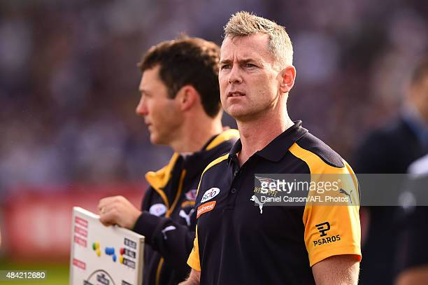 Adam Simpson coach of the West Coast Eagles addresses the team at quarter time during the 2015 AFL round 20 match between the Fremantle Dockers and...