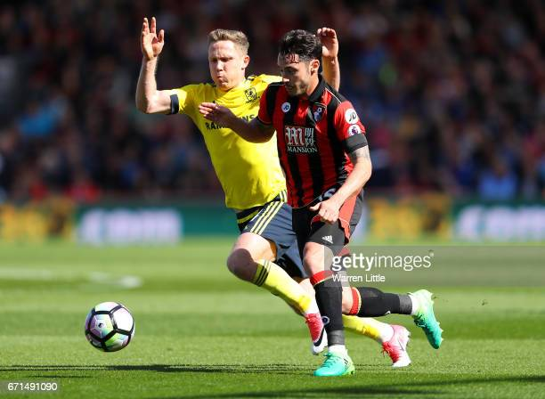 Adam Smith of AFC Bournemouth and Adam Clayton of Middlesbrough in action during the Premier League match between AFC Bournemouth and Middlesbrough...