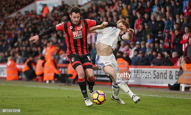 Adam Smith of AFC Bournemouth and Duncan Watmore of Sunderland during the Premier League match between AFC Bournemouth and Sunderland at Vitality...