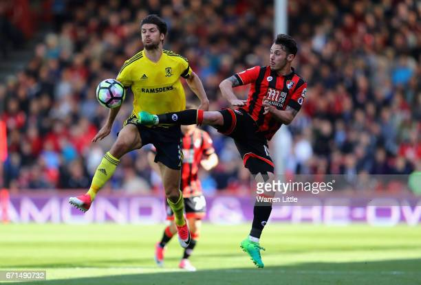 Adam Smith of AFC Bournemouth and George Friend of Middlesbrough in action during the Premier League match between AFC Bournemouth and Middlesbrough...