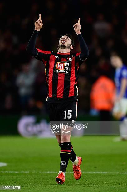 Adam Smith of Bournemouth celebrates scoring his team's first goal during the Barclays Premier League match between AFC Bournemouth and Everton at...