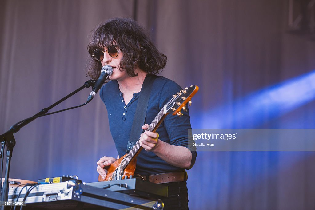 Adam Smith of Temples performs during the Caught By The River Thames festival at Fulham Palace on August 7 2016 in London England