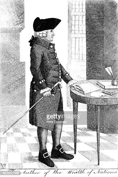 Adam Smith Scottish philosopher and economist 1790 He is pictured standing wearing a hat and wig and carrying a cane pointing to a book on a table...