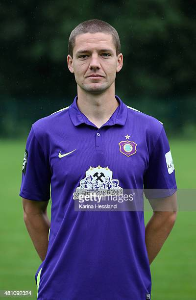 Adam Susac poses during the official team presentation of Erzgebirge Aue at ground 2 on July 14 2015 in Aue Germany