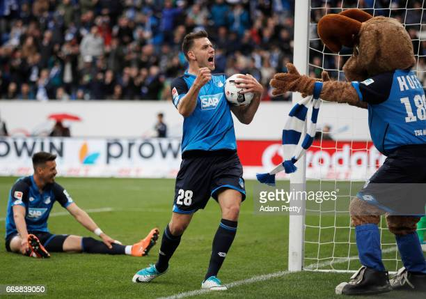 Adam Szalai of 1899 Hoffenheim celebrates after a goal during the Bundesliga match between TSG 1899 Hoffenheim and Borussia Moenchengladbach at...