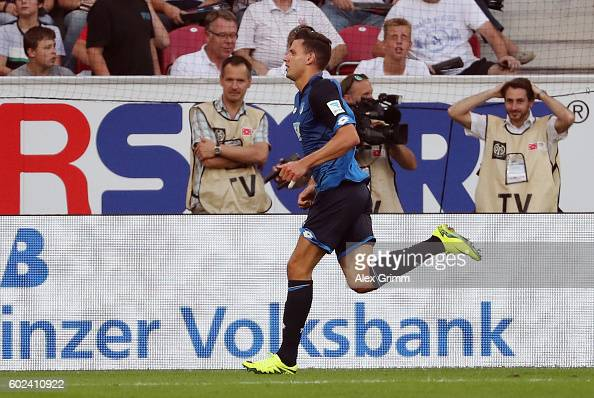 Adam Szalai of Hoffenheim celebrates his team's fourth goal during the Bundesliga match between 1 FSV Mainz 05 and TSG 1899 Hoffenheim at Opel Arena...