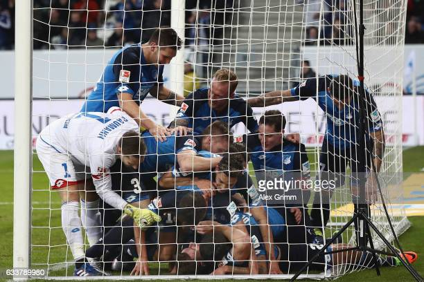 Adam Szalai of Hoffenheim celebrates his team's fourth goal during the Bundesliga match between TSG 1899 Hoffenheim and 1 FSV Mainz 05 at Wirsol...