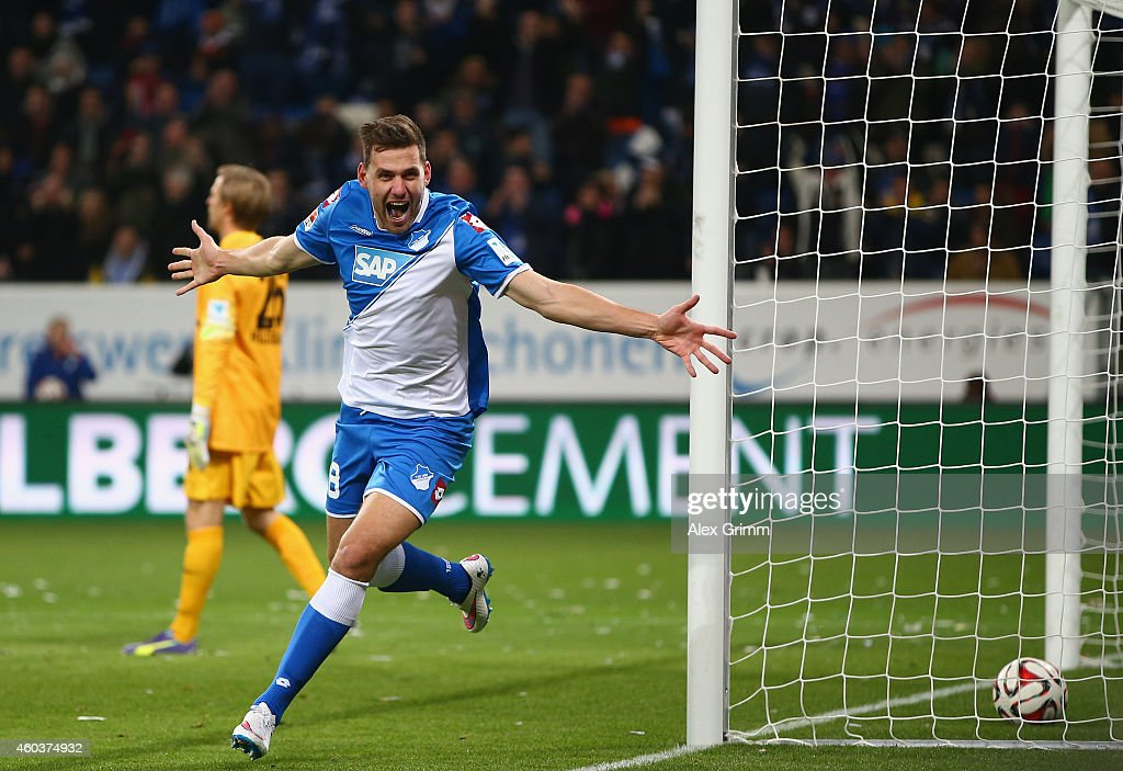 <a gi-track='captionPersonalityLinkClicked' href=/galleries/search?phrase=Adam+Szalai&family=editorial&specificpeople=2344504 ng-click='$event.stopPropagation()'>Adam Szalai</a> of Hoffenheim celebrates scoring his team's second goal during the Bundesliga match between 1899 Hoffenheim and Eintracht Frankfurt at Wirsol Rhein-Neckar-Arena on December 12, 2014 in Sinsheim, Germany.