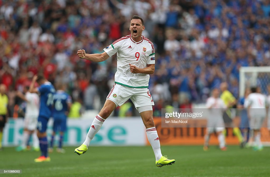 <a gi-track='captionPersonalityLinkClicked' href=/galleries/search?phrase=Adam+Szalai&family=editorial&specificpeople=2344504 ng-click='$event.stopPropagation()'>Adam Szalai</a> of Hungary celebrates at full time during the UEFA EURO 2016 Group F match between Iceland and Hungary at Stade Velodrome on June 18, 2016 in Marseille, France.