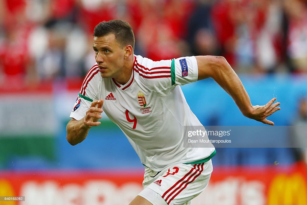 <a gi-track='captionPersonalityLinkClicked' href=/galleries/search?phrase=Adam+Szalai&family=editorial&specificpeople=2344504 ng-click='$event.stopPropagation()'>Adam Szalai</a> of Hungary celebrates scoring his team's first goal during the UEFA EURO 2016 Group F match between Austria and Hungary at Stade Matmut Atlantique on June 14, 2016 in Bordeaux, France.