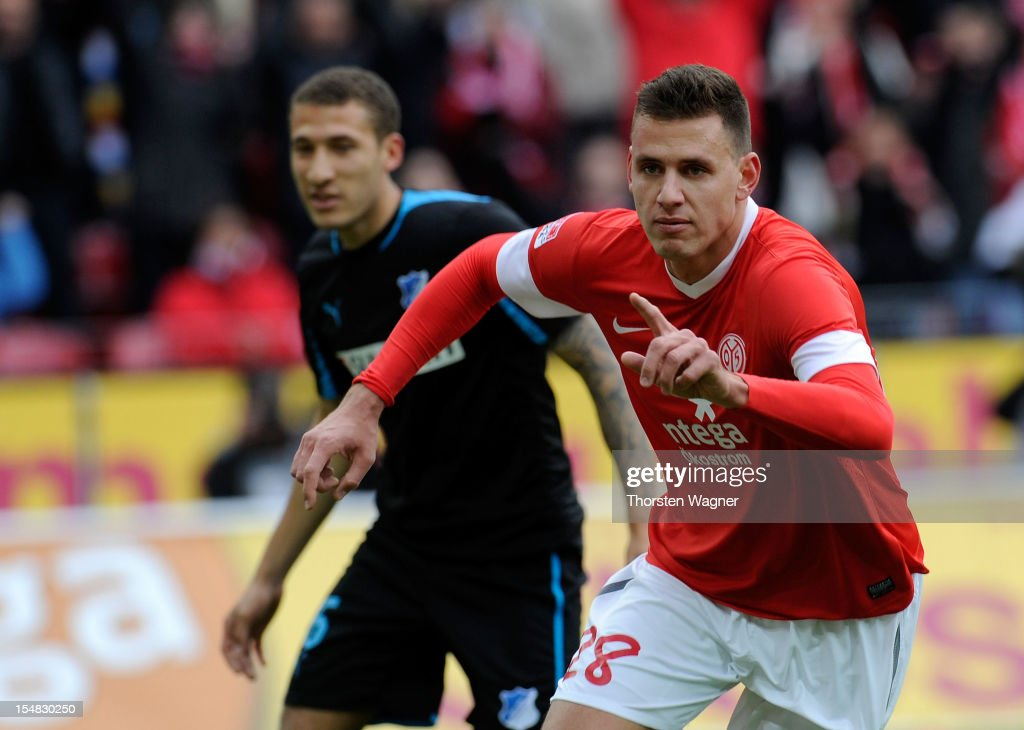 <a gi-track='captionPersonalityLinkClicked' href=/galleries/search?phrase=Adam+Szalai&family=editorial&specificpeople=2344504 ng-click='$event.stopPropagation()'>Adam Szalai</a> of Mainz celebrates after scoring his teams first goal during the Bundesliga match between FSV Mainz 05 and TSG 1899 Hoffenheim at Coface Arena on October 27, 2012 in Mainz, Germany.