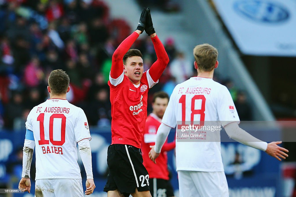 <a gi-track='captionPersonalityLinkClicked' href=/galleries/search?phrase=Adam+Szalai&family=editorial&specificpeople=2344504 ng-click='$event.stopPropagation()'>Adam Szalai</a> of Mainz celebrates his team's first goal during the Bundesliga match between FC Augsburg and 1. FSV Mainz 05 at SGL Arena on February 10, 2013 in Augsburg, Germany.