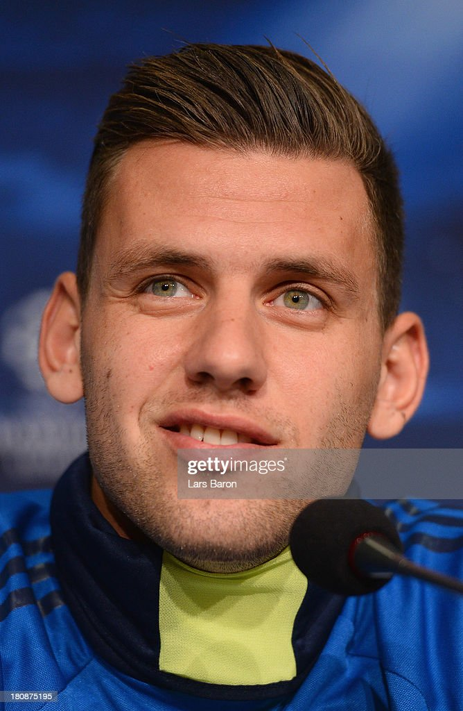 <a gi-track='captionPersonalityLinkClicked' href=/galleries/search?phrase=Adam+Szalai&family=editorial&specificpeople=2344504 ng-click='$event.stopPropagation()'>Adam Szalai</a> smiles during a FC Schalke 04 press conference ahead of their UEFA Champions League Group E match against FC Steaua Bucuresti at Veltins-Arena on September 17, 2013 in Gelsenkirchen, Germany.