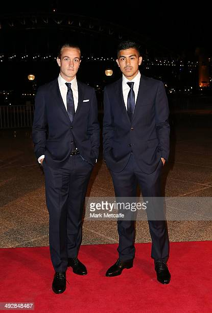 Adam Taggart and Massimo Luongo arrive at the Australian Socceroos Official Farewell Dinner at Sydney Opera House on May 22 2014 in Sydney Australia...