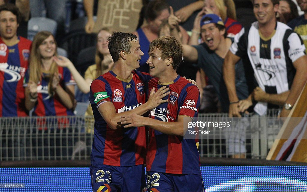 Adam Taggart and Ryan Griffiths of the Newcastle Jets celebrate a goal during the round 21 ALeague match between the Newcastle Jets and the Melbourne...