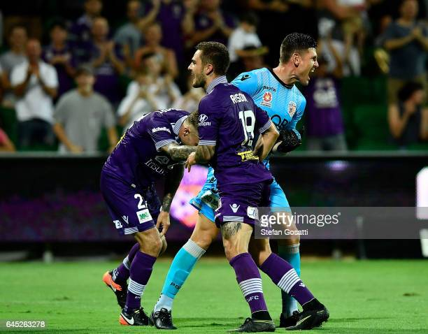 Adam Taggart Liam Reddy and Josh Risdon of the Glory celebrate during the round 21 ALeague match between the Perth Glory and Western Sydney Wanderers...