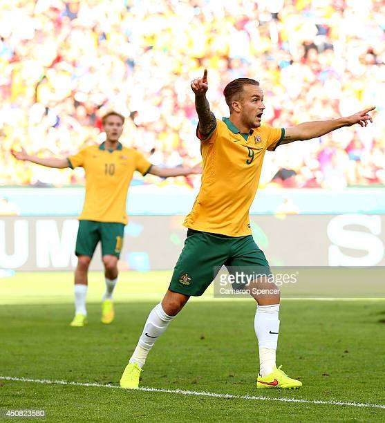 Adam Taggart of Australia reacts during the 2014 FIFA World Cup Brazil Group B match between Australia and Netherlands at Estadio BeiraRio on June 18...