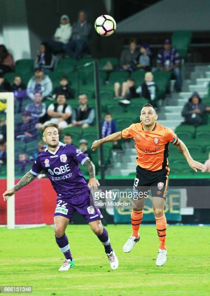 Adam Taggart of the Glory and Jade North of the Roar during the round 26 ALeague match between the Perth Glory and Brisbane Roar at nib Stadium on...