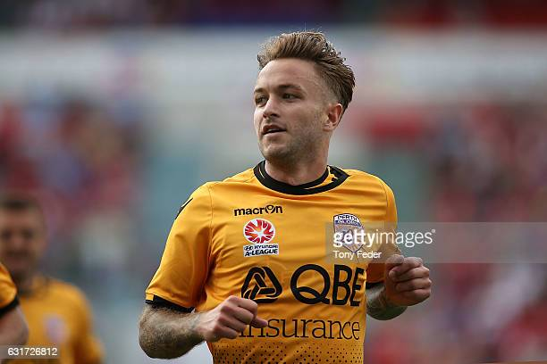 Adam Taggart of the Glory celebrates a goal during the round 15 ALeague match between the Newcastle Jets and the Perth Glory at McDonald Jones...