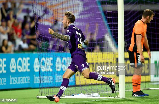 Adam Taggart of the Glory celebrates after scoring a goal during the round 20 ALeague match between Perth Glory and Brisbane Roar at nib Stadium on...