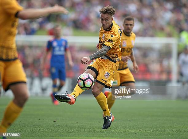 Adam Taggart of the Glory controls the ball during the round 15 ALeague match between the Newcastle Jets and the Perth Glory at McDonald Jones...