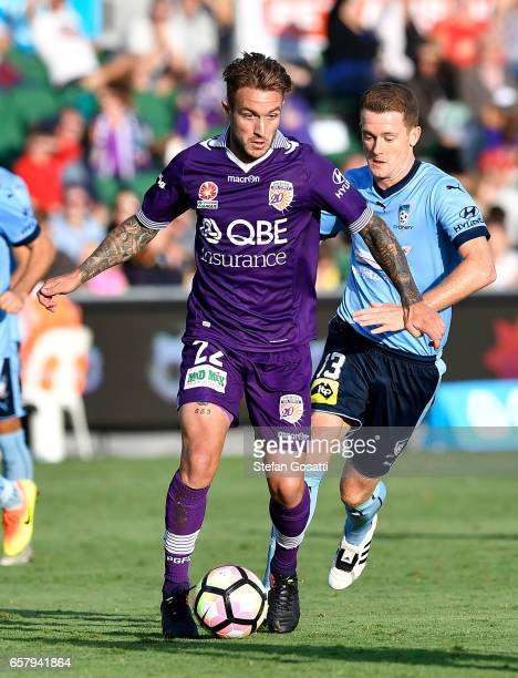 Adam Taggart of the Glory controls the ball during the round 24 ALeague match between Perth Glory and Sydney FC at nib Stadium on March 26 2017 in...