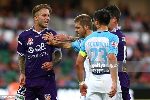 Adam Taggart of the Glory remonstrates with Bruno Fornaroli of Melbourne during the round 27 ALeague match between the Perth Glory and Melbourne City...