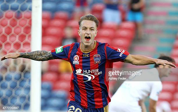 Adam Taggart of the Jets celebrates a goal during the round 22 ALeague match between the Newcastle Jets and Melbourne Heart at Hunter Stadium on...