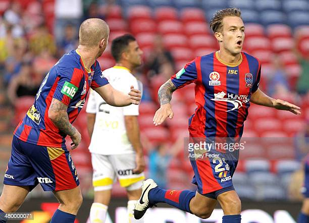 Adam Taggart of the Jets celebrates a goal during the round 24 ALeague match between the Newcastle Jets and Wellington Phoenix at Hunter Stadium on...