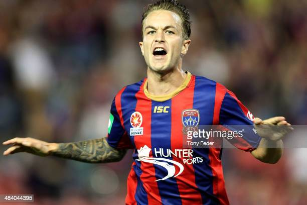 Adam Taggart of the Jets celebrates a goal during the round 27 ALeague match between the Newcastle Jets and Adelaide United at Hunter Stadium on...
