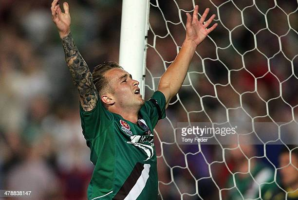 Adam Taggart of the Jets reacts to a missed shot for goal during the round 23 ALeague match between the Central Coast Mariners and the Newcastle Jets...